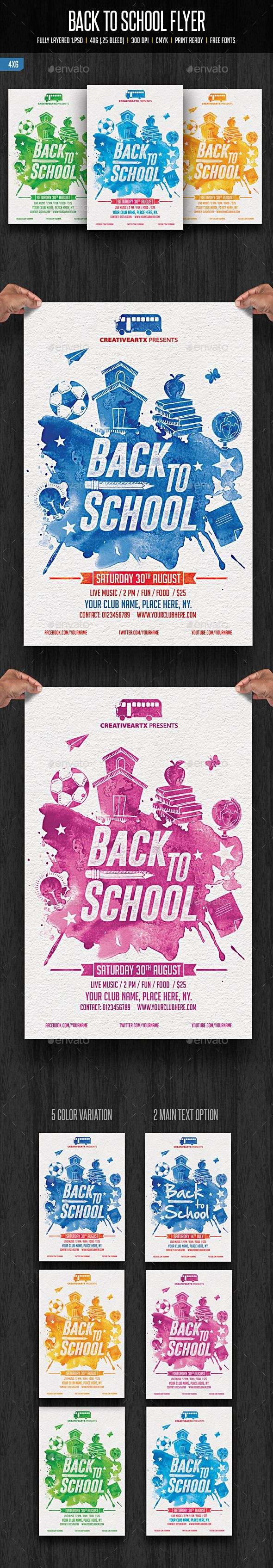 Back To School Flyer  School Flyer Template And Party Flyer