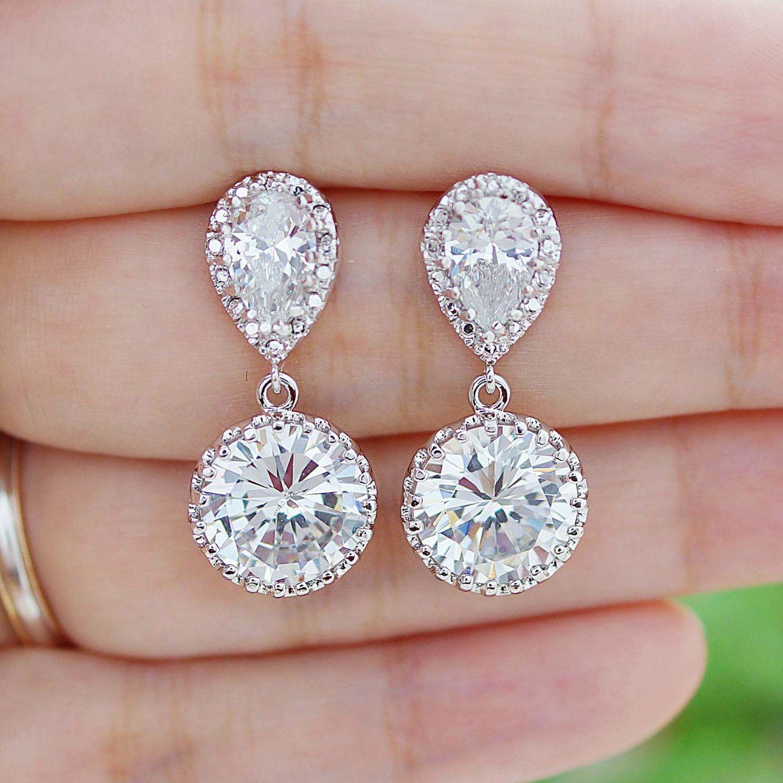 Bridal Earrings Round Cubic Zirconia Drop Earrings Dangle