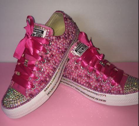dafff6ddbae7 Bedazzled bling all star chuck taylors converse. Pink rhinestone and pearl  chucks.