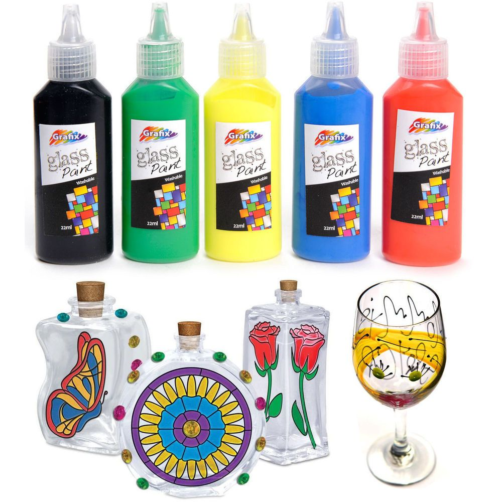 Glass paint set painting kit black outliner transparent for Bottle painting materials