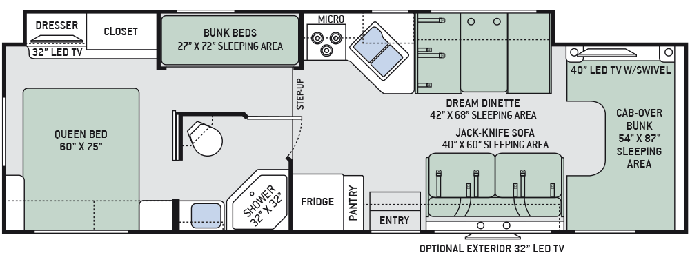 Class c camper floor plans gurus floor for Motorhome plans