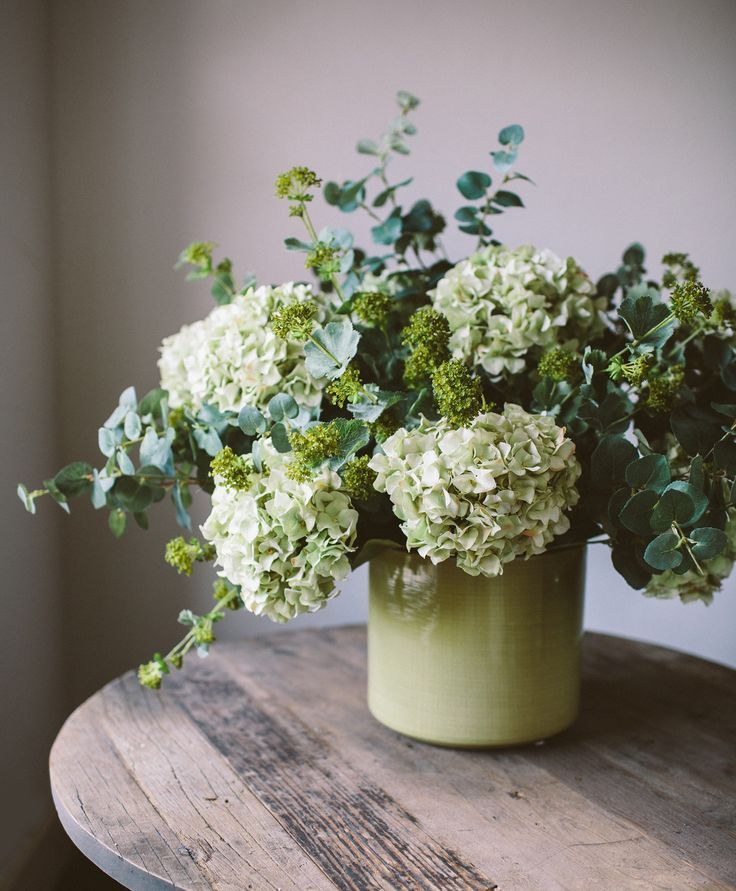 Hydrangea And Eucalyptus For A Beautiful Green Combination Hydrangea Flower Arrangements Artificial Flower Arrangements Spring Flower Arrangements