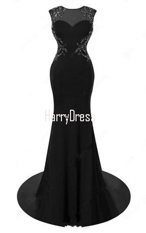 Trumpet Mermaid Scoop Neck Tulle Sweep Train Beading Black Open Back Prom  Dress