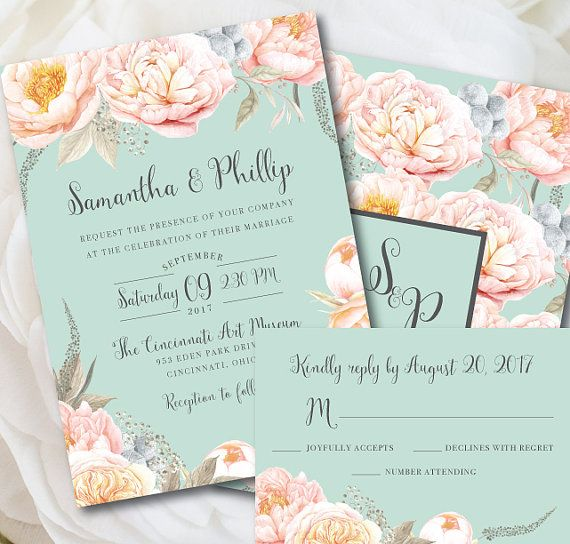 Romance in the air Gorgeous mint and peach wedding invitation by