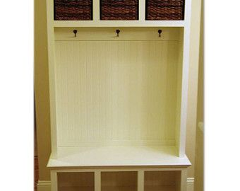 Wide Beadboard Hall Tree With 2 Upper U0026 Lower Storage Cubbies   Entryway  Furniture   Storage Locker   Coat Rack   Mudroom   Cubby