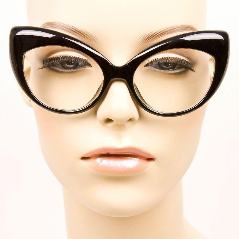 Celebrity Love Large BLACK Cat Eye Pin Up Girl Retro Geek Big ...