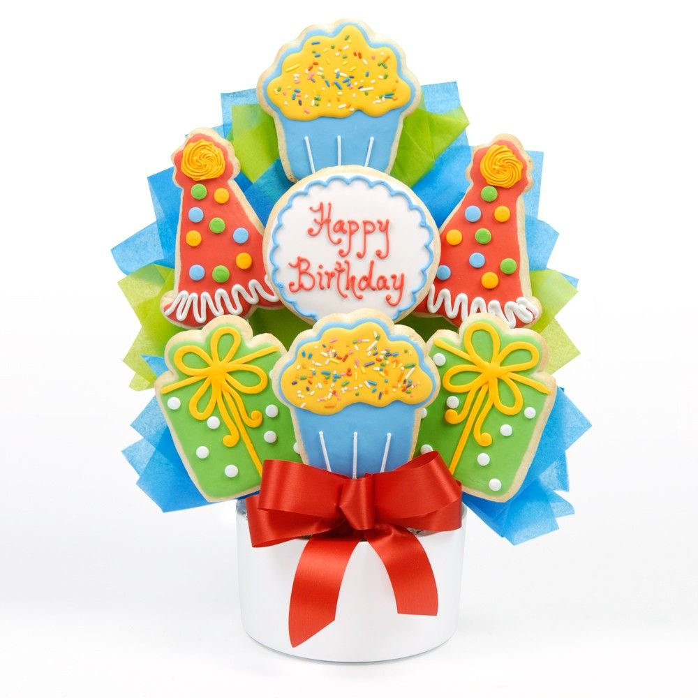 Birthday Party Cutout Cookie Bouquet Send a party with a scrumptious