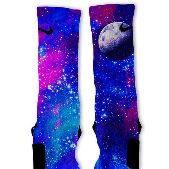 Galaxy MOON Custom Nike Elite Socks by FreshElites on Etsy