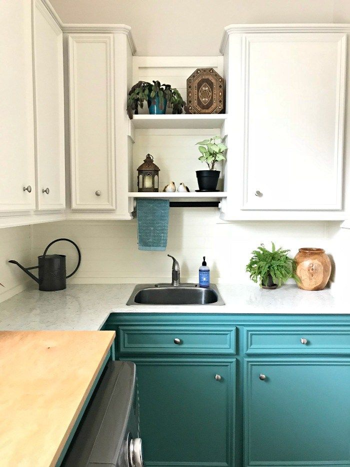 10x10 Laundry Room Layout: Colorful Laundry Room Makeover - Teal Cabinets, Guys