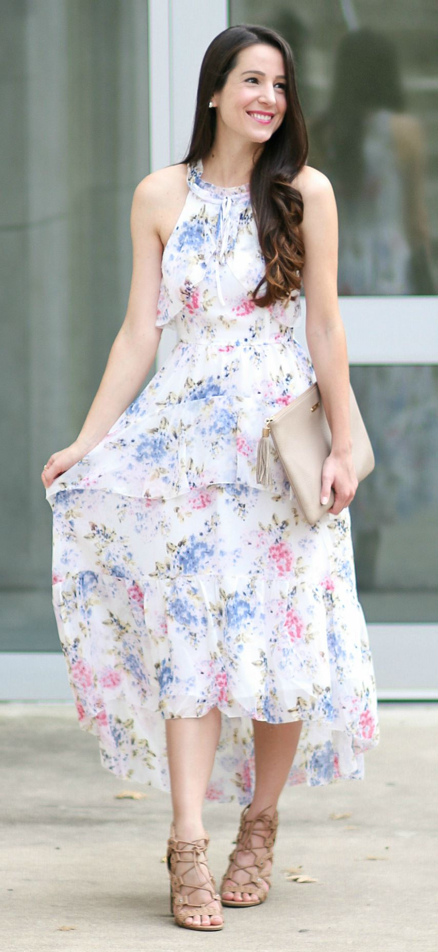 Wearing White To A Wedding After Market Floral Chiffon Maxi Dress Stylish Fall Outfits Floral Chiffon Maxi Dress Fashion [ 1854 x 854 Pixel ]