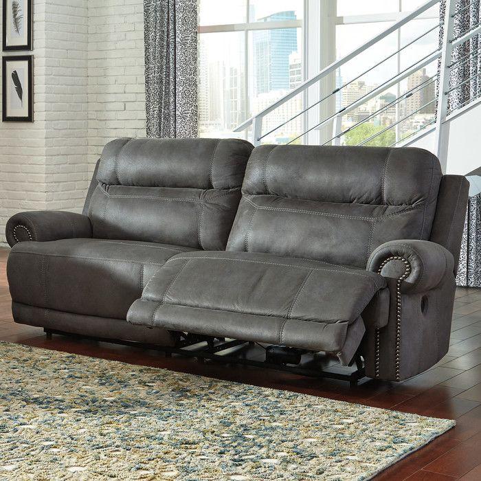 Pavillion Settee Grey Reclining Sofa Leather Reclining