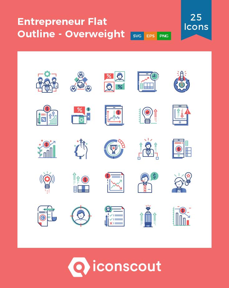 Download Entrepreneur Flat Outline Overweight Invest