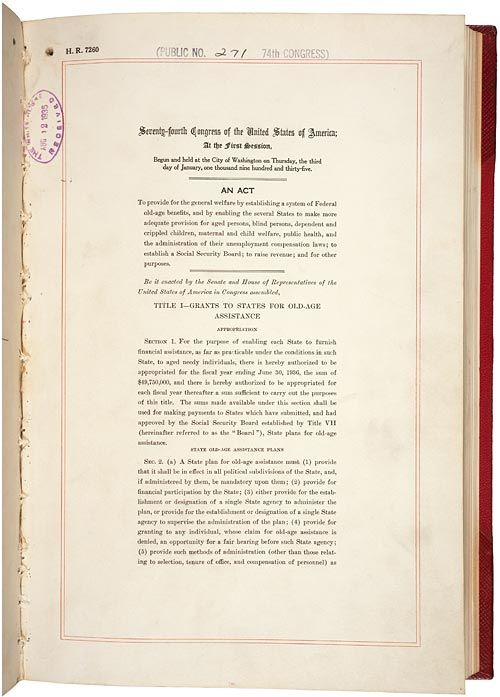On 14 Aug 1935 The Social Security Act Established A System Of