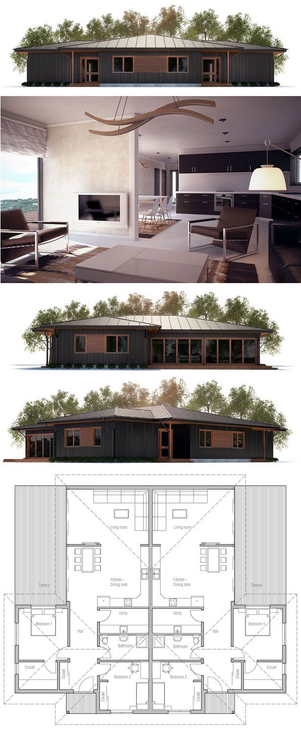 Duplex House Plan Ch293 Duplex House Plans House Plans New House Plans