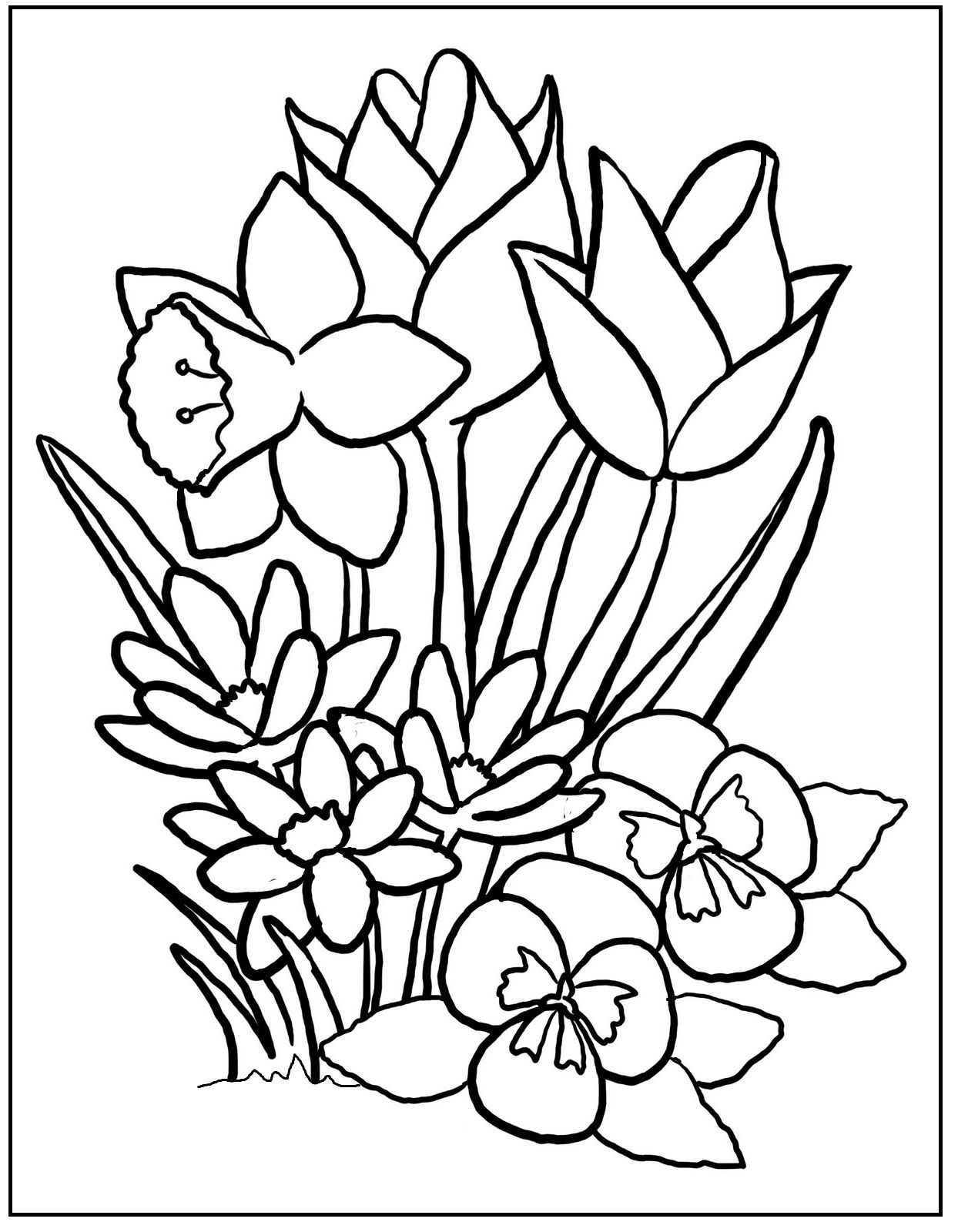 Colorful Flowers On Spring Day coloring picture for kids | Spring ...