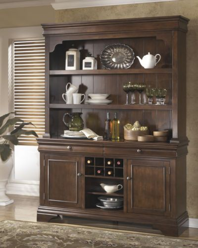 New medium brown traditional dining room buffet hutch for Traditional dining room sideboard