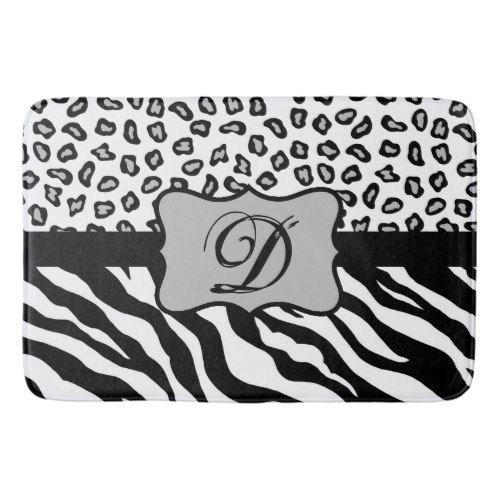 Black White Zebra Leopard Skin Monogram Bathroom Mat  Bath Mats Delectable Black And White Bathroom Rugs Design Ideas