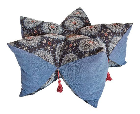 Middle eastern persian floor pillow with tassels, biscofleur star ...