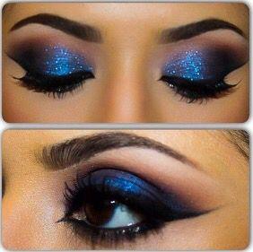 royal blue glittery smokey eye  smokey eye makeup blue