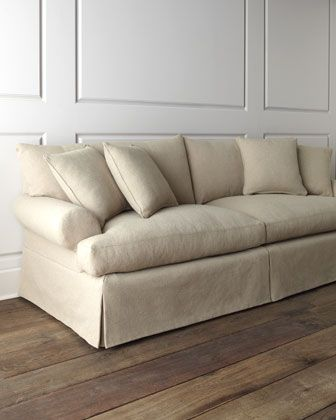Sofa Cover  Keystone Sofa overstuffed with dressmaker style skirt handcrafted engineered hardwood frame with