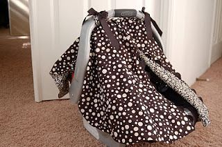 Cute car seat canopy with opening, I think I would add ...