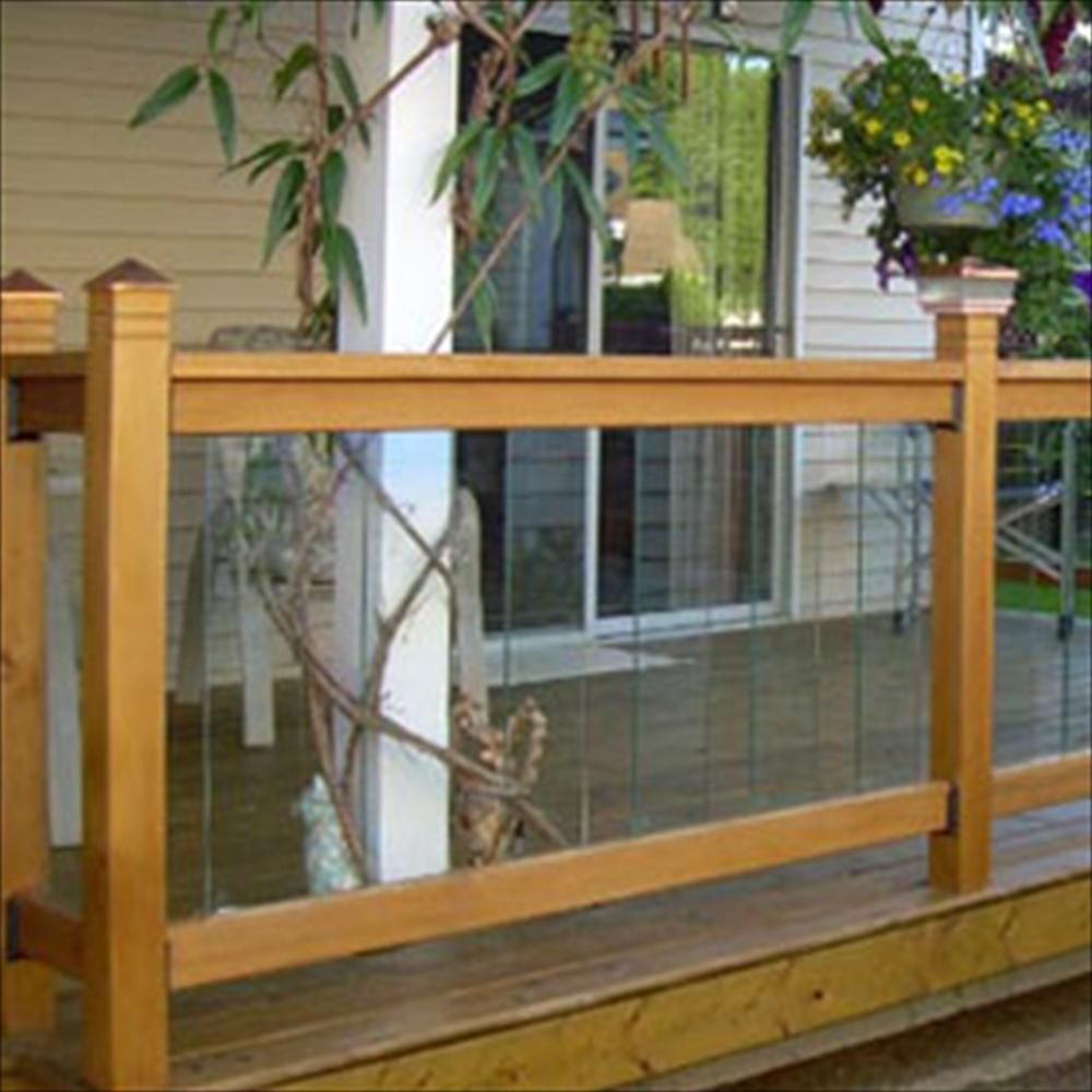 Cedar glass railing kits clearview series deck for Garden decking spindles