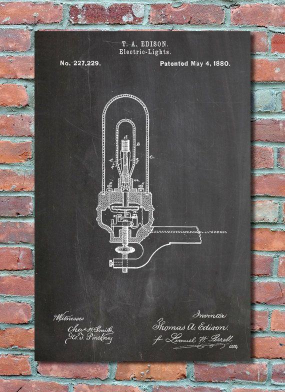 Thomas Edison Light Bulb Patent Wall Art Print, Patent Art - copy exchange blueprint application