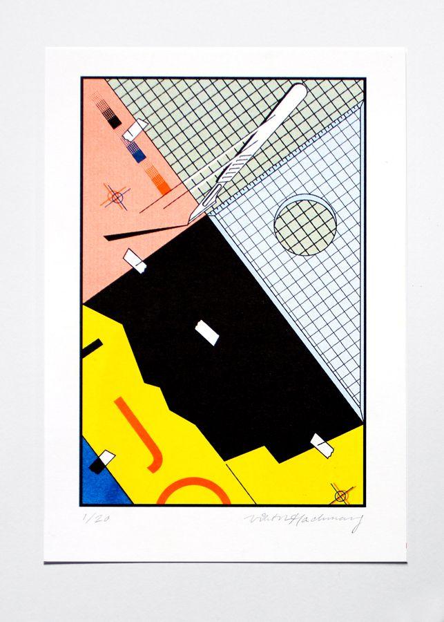 Viktor Hachmang,J (voor Kenzo)(2013)risografie (4 kleuren: geel/oranje/blauw/zwart), A5