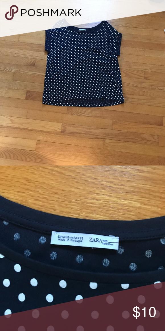 f049b56c Zara polka dot top Navy blue & white, loose fit Zara Tops Tees - Short  Sleeve