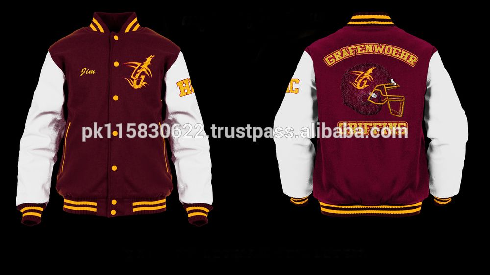 PU Leather Graphic Embroidered Baseball Jacket - WHITE XL