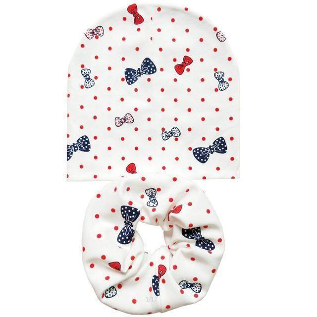 Cotton Baby Hat Set Ice Cream Love Print Cotton Cap Baby Hats Newborn Hat  Children Scarf Collar Boys abe07f67c79c