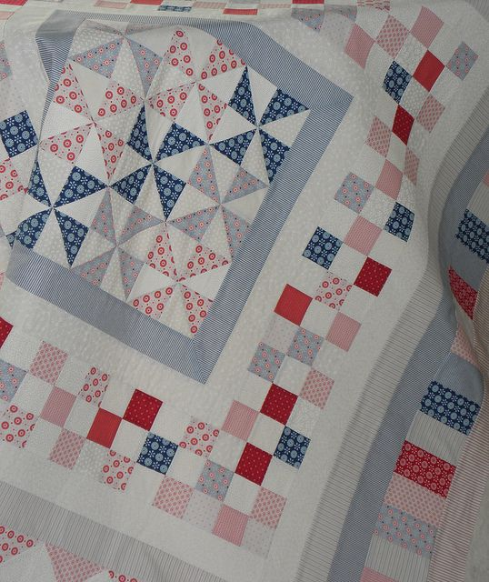 3d4e0b92bf9 Red and Blues... with pinwheels and checkerboard border... beautiful summer  quilt