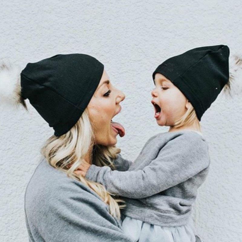 Mommy and Me Faux Fur Pom Pom Hats  07e245079b80