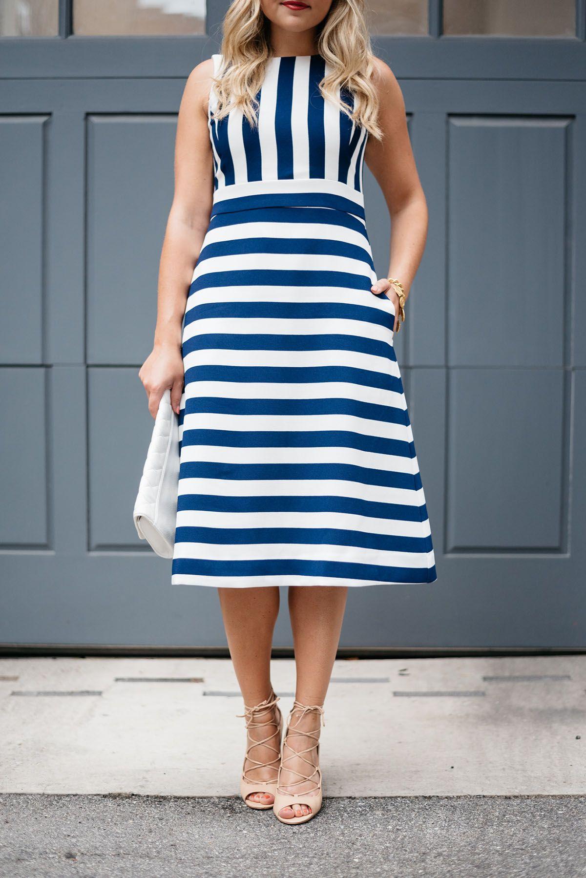 Spring Summer Staple The Nautical Striped Dress Bows Sequins Striped Dress Spring Spring Summer Dress Striped Dress [ 1798 x 1200 Pixel ]