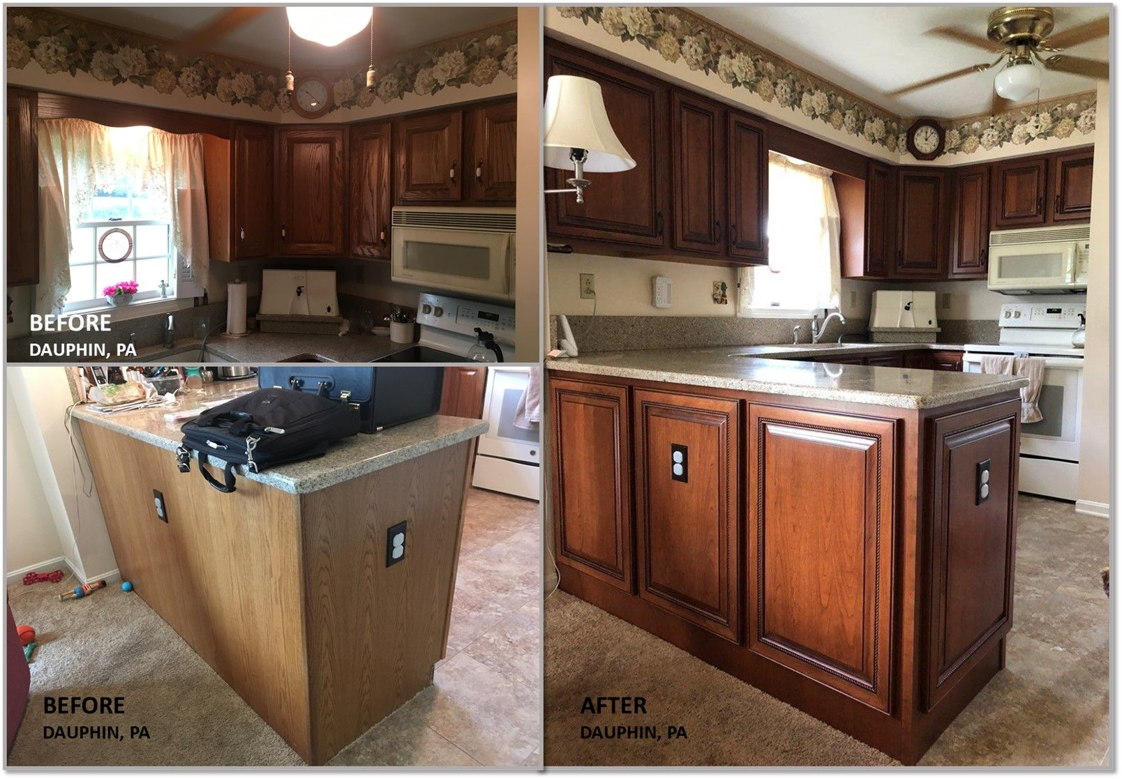Outdated Cabinets Get Face Lift With Dark Honey Stained Doors Kitchen Refacing Stained Doors Cabinet Makeover