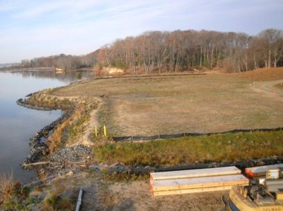 Taking a novel approach to converting this former landfill at Indian Head's site 11 into vibrant coastal habitat resulted in savings of more than $700,000. (U.S. Navy)