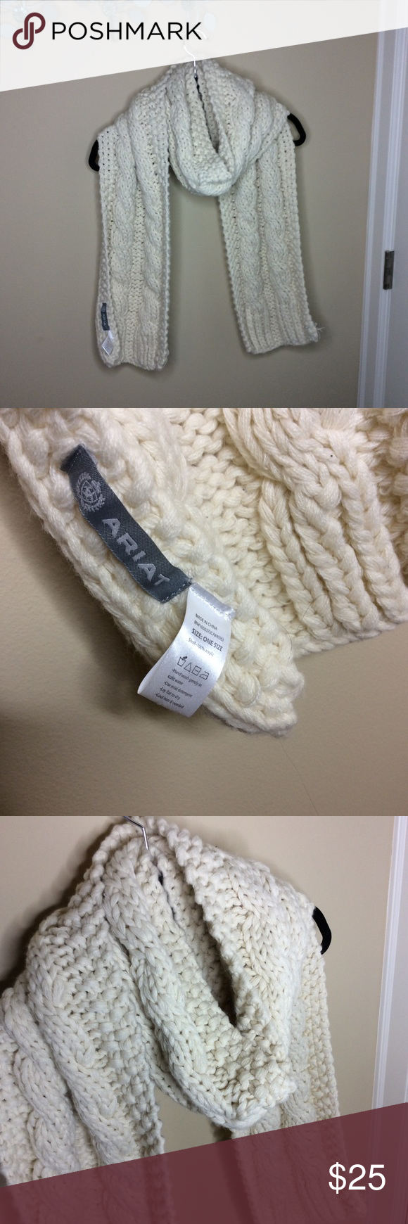 Ariat cream knit scarf Worn for a year but clean and good condition! Super warm and stylish. Ariat Accessories Scarves & Wraps