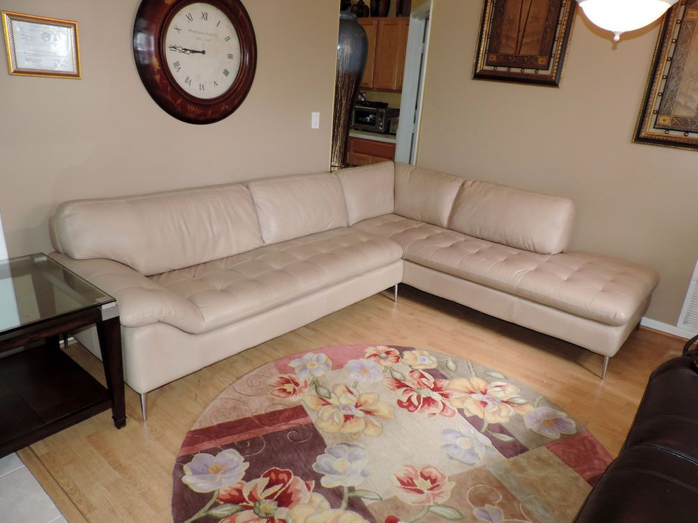 Bloomingdale S Corisca Cau D Ax Two Pc Oyster Tufted Leather Sectional Sofa Bloomingdales