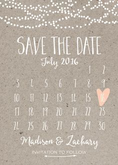 Save the Date Card, Calendar Printable, Simple Wedding ...