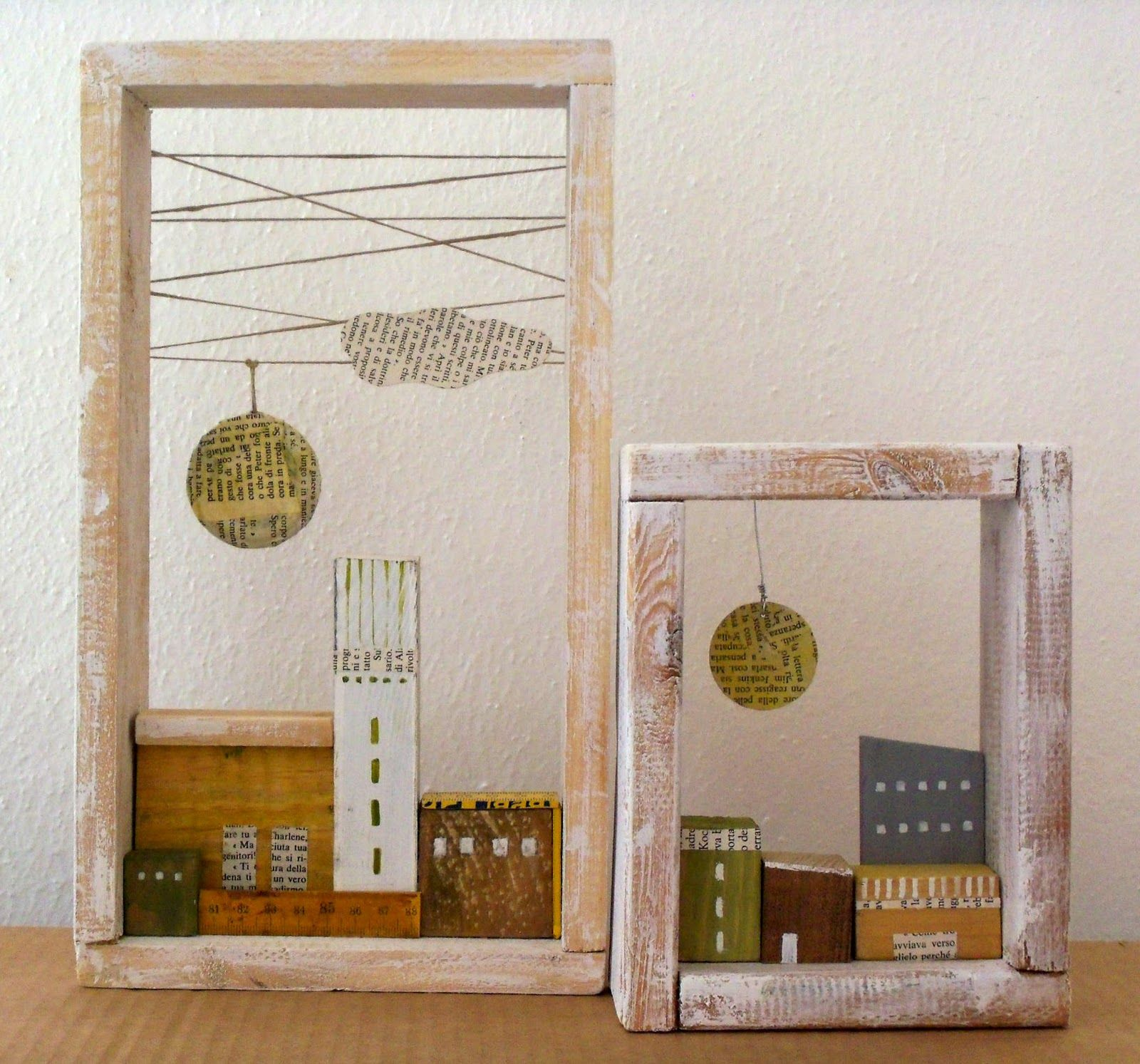 Holzhäuser im Rahmen | decoração | Pinterest | Holzhäuschen, Rahmen ...