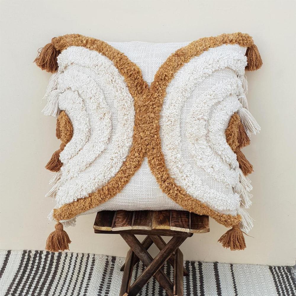 Cushion Cover 50x50 | 100% Cotton Tufted Textured Pillow Case | Mustard Yellow & Cream White Boho Pi