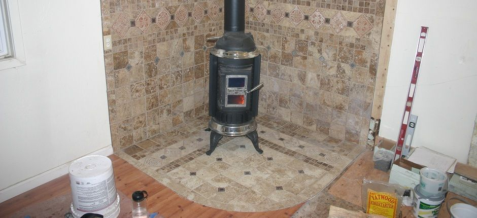 tile wood stove surround | Wood burning stove with tile surround - Tile Wood Stove Surround Wood Burning Stove With Tile Surround
