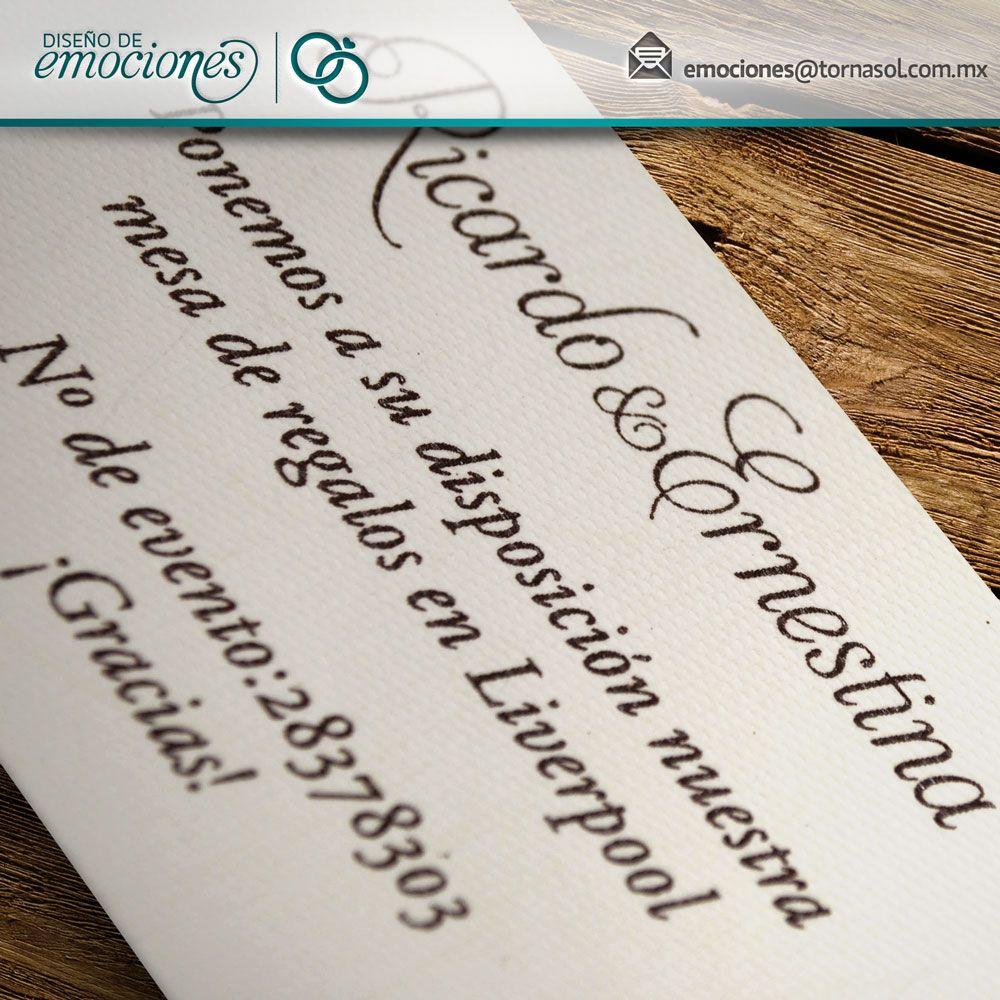 Tarjeta de sugerencia de regalo que incluye el número de evento.
