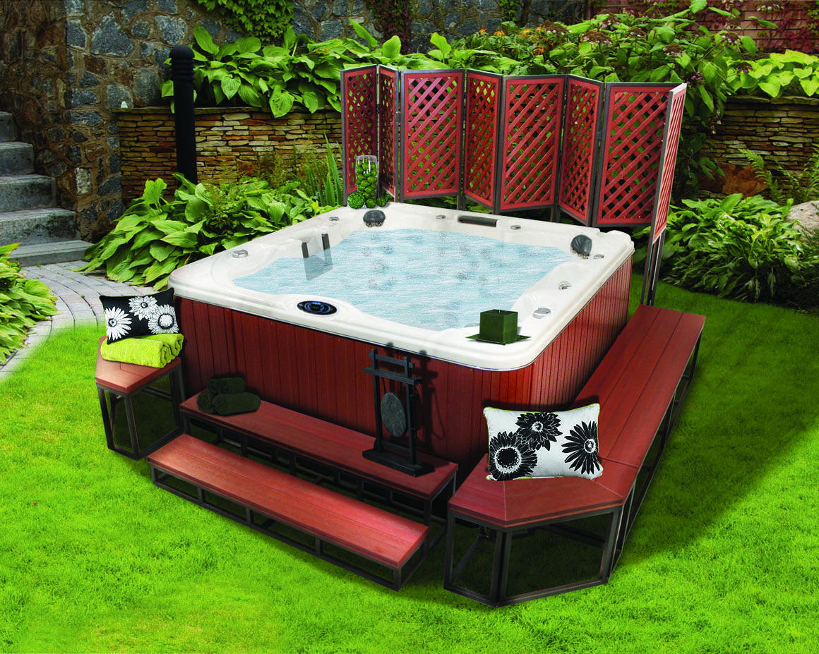 Great Idea Think I Am Going To Do This On The Hot Tub We Are Getting I Have Metal Frames From A Gazebo That Hot Tub Backyard Hot Tub Outdoor Hot