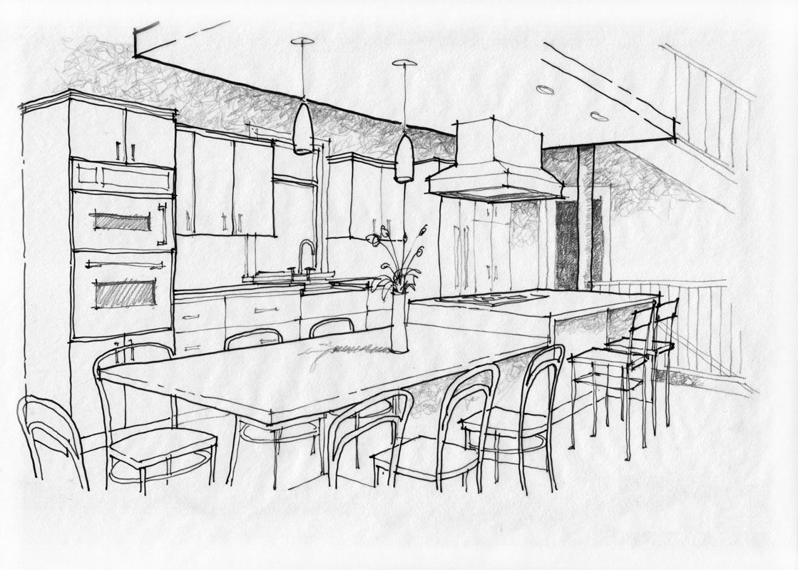 Sketch pad kitchen or cabinet showroom remodeling for Interior design layout drawing