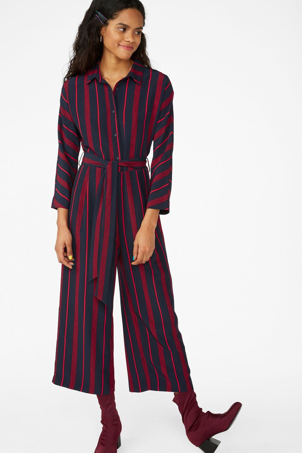 6ef2eaf02229 Monki shirt collar jumpsuit in blue - Flowy and relaxed