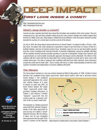 Google Image Result for    solarsystemnasagov deepimpact - fact sheet template