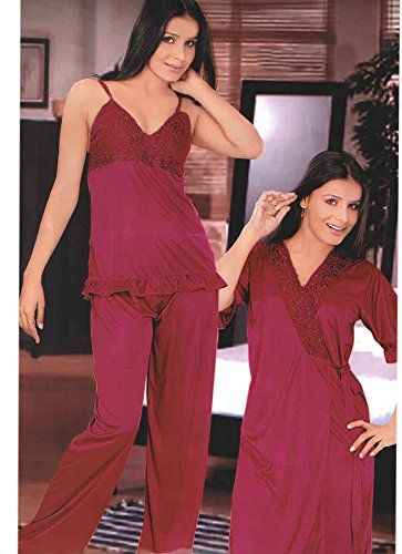 67e8c5cf112b Indiatrendzs Women s Sexy Hot Nighty Maroon 3pc Set Bedroom Sleepwear  Freesize Indiatrendzs http