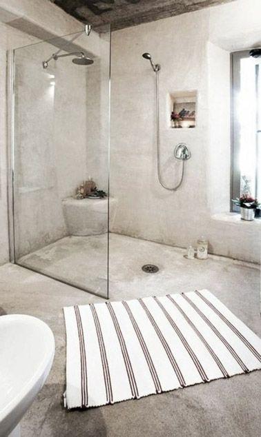 deco salle de bain avec douche italienne en beton cire beige
