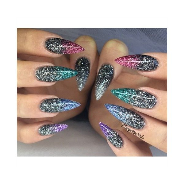 Glitter Ombré Stiletto Nails Nail Art Gallery ❤ liked on Polyvore ...
